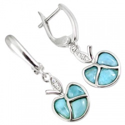 Natural Blue Larimar Fancy 925 Sterling Silver Dangle Earrings