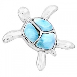 Tortoise Styled Sterling Silver Pendant Festooned With Larimar