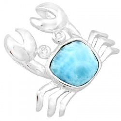 Scorpion Dressed 925 Sterling Silver Pendant Embellished With Larimar Gemstone