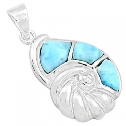 Alluring 925 Sterling Silver Sea Shell Pendant Adorned With Larimar Gemstone