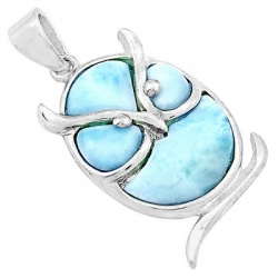 Fascinating Owl Styled Sterling Silver Pendant Festooned With Larimar