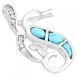 Beguling Sterling Silver Seahorse Pendant Embellished With Larimar