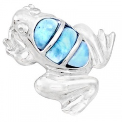 Plush Sterling Silver Dominican Republic Frog Pendant Embossed With Larimar