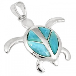 Turtle Blue Larimar 925 Sterling Silver Pendant Jewelry