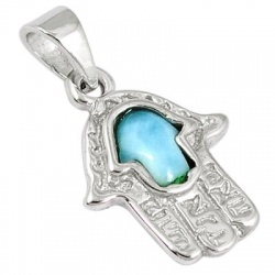 Natural Blue Larimar 925 Sterling Silver Hand Of Hamsa God Pendant