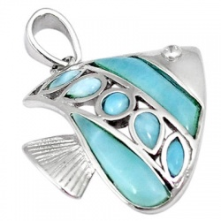 Natural Blue Larimar Topaz 925 Sterling Silver Fish Pendant