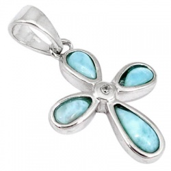 925 Sterling Silver Holy Cross Blue Larimar Topaz Pendant