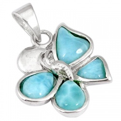 925 Sterling Silver Natural Blue Larimar Butterfly Pendant