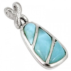 Natural Blue Larimar Fancy 925 Sterling Silver Pendant