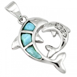 Natural Blue Larimar Fancy 925 Sterling Silver Dolphin Pendant