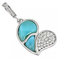 Natural Blue Larimar Topaz 925 Sterling Silver Heart Pendant