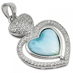 Natural Blue Larimar Topaz Heart 925 Sterling Silver Pendant