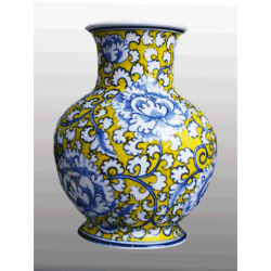 yellow base flower design vase