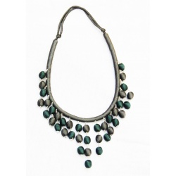 Sea green and Gray color handmade beads silk jewelry